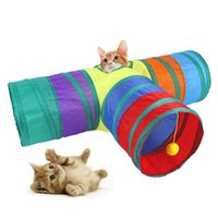 애완 동물 고양이 용품 무지개 티 터널 양방향 고양이 장난감 드릴 버킷 접을 수있는 고양이 채널 재생 장난감