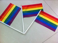 Modern Rainbow Gay Pride Flag 21*14CM Creative Hand Mini Handheld Used Wholesale For Family Holiday Party Decoration