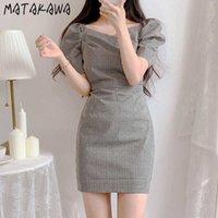 Matakawa Quality Plaid Praid Hockeve Robes Taille Vestidos à manches courtes Femme 2021 Été Vintage Robe Col carré Robe Y0628