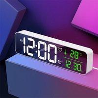 Övriga klockor Tillbehör Väckarklocka Enkel LED elektronisk spegel stil kreativ mode hem kvadratmusik