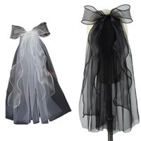 """Bridal Veils Wedding Veil With Hair Clip Accessories For Brides 1 Tier Short Tulle Length 15.8"""" Embellished Bowknot"""