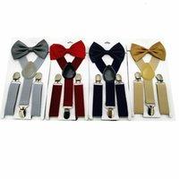 Set Tuspenders Bow Tie Candy Kids Color Baby Ajustable Elástico X-Band Stres Stres Frenos Adecuado para niños Niños Chicas de 1 a 1