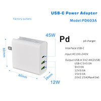 45W PD Charger USB C Power Adapter PD QC3.0 TYPE-C 3Port Wall for USB-C Laptops MacBook xiaomi Samsung Chargers