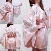 Wraps & Jackets Elegant Pink Satin Silk Bridal Bathrobes Dresses Women Long Lace Maternity Dress Prom Gown Po Shoot Robe Evening Gowns