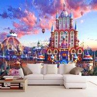Fondos de pantalla PO POP Papel tapiz 3D Estéreo Pintado a mano Mano Castillo Fantasía Sky Murales Niños Niños Dormitorio Dormitorio Decoración Pegatinas