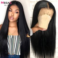 Lace Wigs Megalook Human Hair 4x4 Closure Wig Bone Straight Remy Brailian 180 Density 13x5x2 T Part Pre Plucked