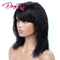 Hair Bulks Short Natrual Wave For Women 100% Human Kinky Straight With Bangs Natural Black Color Machine Made