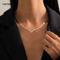 Ожерелья Ingesight! z Простая минималистская медная плоская змея Punk V-образный короткий воротник Keybone женские драгоценности