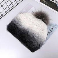 Beanie Skull Caps Luxury Women's Winter Warm Fur Knitted Beanie Hat Dip Dye Color Raccoon Pom Poms