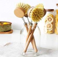 Cozinha Limpeza Escova Bambu Long Handle Sisal Lavagem Potenciômetro Pratos Pincel Pode Substituir Cabeça de Escova 23cm WWA205