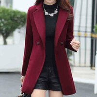 Women's Wool & Blends Feitong Office Winter Women Plus Size Turn Down Collar Long Sleeve Lapel Coat Trench Jacket Slim Formal Overcoat Outwe