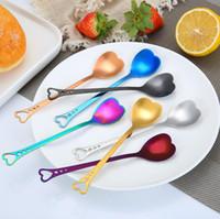 Amore a forma di cuore cucchiaio colorato gelato cucchiaio caffè tè mescolare cucchiai per il partito forniture di nozze accessori cucina YL332