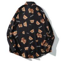 New Hip 2021 Hop Streetwerar с длинным рукавом рубашки осенние декапируемое медведь Печать Harajuku Hawaiian Beach Мужская хлопковая свободная рубашка Tops 2LPF