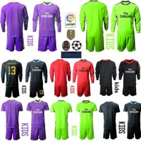 New 2020 2021 children Soccers Jerseys long sleeves kids kit soccer shirt 20 21 1 NAVAS 13 COURTOIS Goalkeeper boys youth Football uniforms