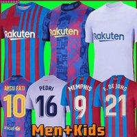 Camisetas de Football Memphis Pedri Kun Aguero Barcelona Fussball Jersey Barca FC 21 22 Ansu Fati 2021 2022 Messi GRIEZMANN F. De Jong Dest Kit Hemd Männer Kinder Sets 999