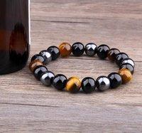 Natural Black Onyx With Stone Hematite Stones Tiger Eye Beaded Strand Wrap Buddha Bracelets & Bangles Jewelry 6MM 8MM 10MM