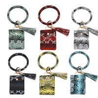 10Pieces Lot Fashion Serpentine Wrist Ring Keychains PU leather wallet Key Chain Mens And Womens Car Bags Pendant Accessories Key RingGifts