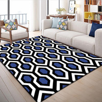 Moda comercial Moderno Geométrico Azul Blanco Negro Diamante Dormitorio Dormitorio Salón Salón Alfombra Alfombra Área Decorativa Alfombra