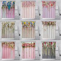 Flor Impresso Cortina de Banheiro 180 * 180cm Pendurar Flor Impresso Poliéster Tecido Curtain Curtain Gancho de Plástico Banheiro OWE4836