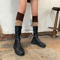 Elastik Streç Çizmeler Bayan Çizmeler 2019 Platformu Kadın Sünger Kek Alt Siyah Botas Mujer Yan Fermuar Siyah Tıknaz Ayakkabı Ayakkabı Satış P 831N #
