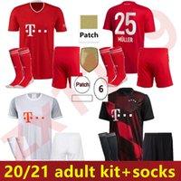 2020 2021 Münih Futbol Forması Yetişkin Seti Lewandowski Muller Futbol Gömlek Erkekler Munchen 2020 21 Çorap Ile Tam Kiti