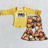 Abbigliamento per bambini Abbigliamento Abbigliamento Abbigliamento Abbigliamento Halloween Bambini Neonati Designer Vestiti Zucca Boutique Bambini Abiti all'ingrosso Manica lunga Campana Pantaloni in fondo al latte Seta