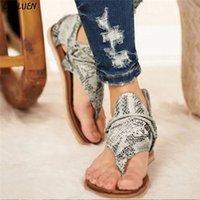 Loulluen 2020 Yaz Bohemian Sandalet Bayan Bayanlar Rahat Posh Vintage Leopar Flip Flop Comfy Fermuar Ayakkabı Roman Zapatos Mujer Q77L #