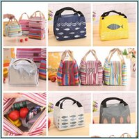 Bags Housekee Organization Home & Garden10 Design Tote Bag Lunch Organizer Handle Insation Cold Picnic Food Storage Thermal Canvas Box Drop