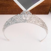 Crystal Tiara Crown Bridal Wedding Accessori per capelli da sposa Royal Princess King and Queen Diadem Tiades Crowns Corona Fascia perSeven clip Barrettes