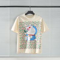 El último primavera italiana y verano de la moda de la moda de la moda de la impresión completa de las señoras camiseta mezclada algodón suelto casual todo-partido blanco de gran tamaño.