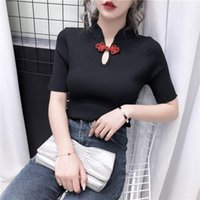 Women's T-Shirt Girls Knitted T-Shirts Tees Female Chinese Style Turtleneck Vintage Short Sleeve Summer Thin Tshirt Tops For Women