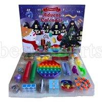 24pcs Set de Navidad Fidget Toys Advent Calender Cajas ciegas Regalos Déano simple Dénculo de descompresión Juguete Push Bubbles Niños Regalo de Navidad Zza3409 por mar
