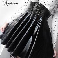 ROCKMORE PU кожаный ночной клуб A-Line Mini юбка женщин молния готический панк стиль высокая талия сексуальный микро над колена юбки женские 210225