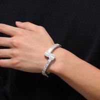 14 K złoto mężczyźni damskie sześcienne cyrkonia diamentowa bagietka kwadratowa bransoletka bransoletka o otwarcie rozmiar biżuteria