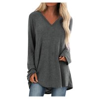 Women's Blouses & Shirts Arrival Women Batwing Sleeve Blouse Loose Solid Long Tee Shirt V Neck Back Buttons 2021 Top Tees Plus Size