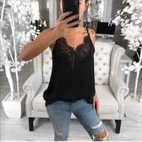 Summer Casual Loose Sleeveless Womens Shirts Lace V Neck Tops Female Plus Size