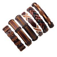 Charm Bracelets 6pcs set Boho Hippie Punk Dark Brown Leather Orange Cord Knots Multi Stackable Layers Bangle Set Unisex Jewelry