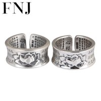 Cluster Rings FNJ Lotus Ring 990 Silver Adjustable Original S990 Solid For Women Jewelry Buddha Flower