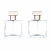 25ml portable refillable square glass perfume spray bottle