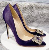 النساء الأحذية الأحمر قيعان عالية الكعب 8 سنتيمتر 10 سنتيمتر 12 سنتيمتر حجم كبير eu34 إلى 45 أشار أصابع القدم مضخات الظلام الأرجواني الساتان ندفة الثلج الماس مربع مشبك الحقيقي الحرير الزفاف الزفاف الأسود