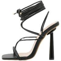 Sandals 2021 Summer Women Narrow Band Vintage Square Toe High Heels Cross Strap Thong V Shape Design Shoes