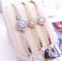 Cute Luxury Jewelry 18K White&Rose&Gold Filled Multi Color CZ Crystal Hot Women Bracelet Chain for Lovers' DFF3381