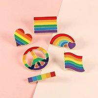 Bandiera arcobaleno cuore spilla pace e amore smalto pin vestiti borsa con risvolto perno gay lesbico orgoglio icona distintivo regalo gioielli unisex