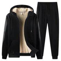 Men's Tracksuits Winter Thicken Fleece Tracksuit Men Plus Size 8XL Sportswear Hoodie+Pants 2 Piece Warm Sets Black Red Casual Sweat Suits