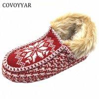 Covoyyar 2017 따뜻한 크리스마스 여성 슬리퍼 새해 겨울 컴포트 홈 신발 빨간색 실내 면화 신발 플러스 사이즈 40 WSL509 A65A #