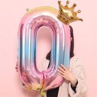 32 polegadas coroa número balões balão balão feliz aniversário festa decoração decorações de festa de casamento ballons 2021
