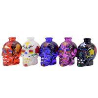 Многоцветные черепные стеклянные трубы для курительных труб Цветочная печатная вода для воды Курение аксессуары оптом 5 цветов B3