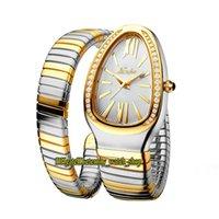 Missfox 2686-1 Mode Dame Uhren Weiß Zifferblatt Quarz Bewegung Womens Watch Euro Out Diamanten Lünette Stahlgehäuse Doppel Zwei Ton Gold Silber Schleife Armband
