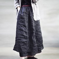 Casual Dresses Spring Summer Loose Leisure Cotton Linen Pocket Irregular Skirt 2021 New Simple Comfortable All-match Women Half 2U
