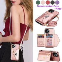 Card Holders Women Phone Crossbody Strap Lanyard PU Leather Wallet Holder Case For IPhone Samsung Necklace Chain Bag